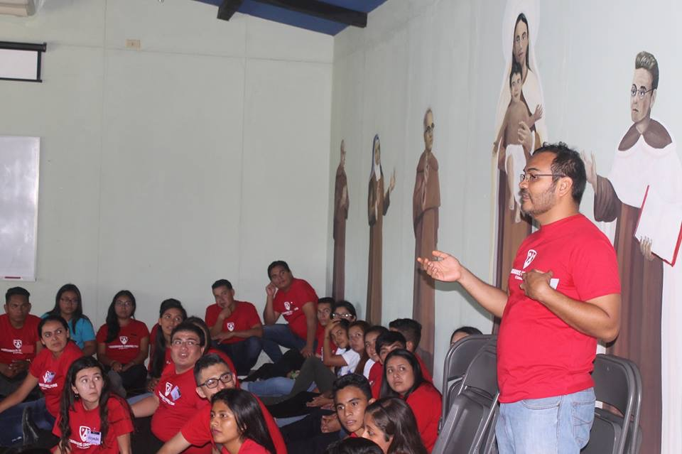 Fr. Luis Jesus Paz, O. Carm., speaking to the youth during one of the presentations on Carmelite formation during the Day of Preparation for Panama.